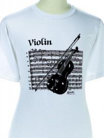T-shirt met viool en bladmuziek