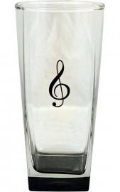 Longdrinkglas met vioolsleutel