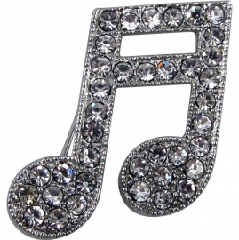 Broche met zilveren muzieknoten