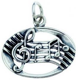 Hanger met zilveren notenbalk en muzieknoten