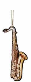 Kerstversiering saxofoon 9,5 cm