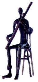 Bronzen beeldje fagottist