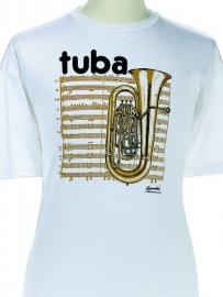 T-shirt met tuba en bladmuziek