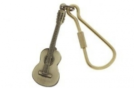 Sleutelhanger klassieke akoestische gitaar in antiek messing