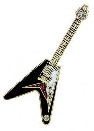 Speldje gitaar Flying 'V' zwart