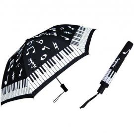 Opvouwbare paraplu met pianotoetsen en muziektekens