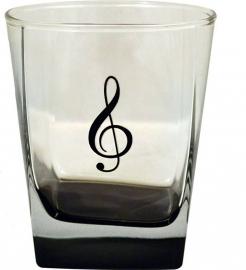 Drinkglas met vioolsleutel