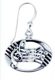 Zilveren oorbellen met notenbalk