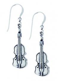 Zilveren oorbellen met violen