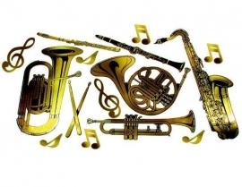 Goudkleurige feestdecoratie Instrumenten