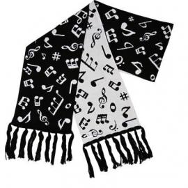 Luxe sjaal met muzieksymbolen