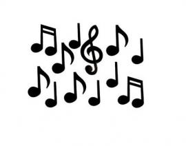 Zwarte deco-muzieknoten 12 stuks
