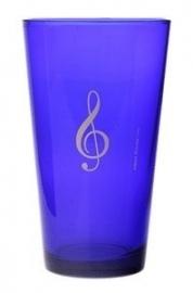 Blauw bierglas met vioolsleutel