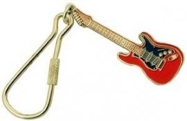 Sleutelhanger Fender Stratocaster elektrische gitaar rood