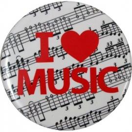 Button met tekst 'I ♥ Music'