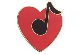 Speldje hart met achtste noot rood/zwart