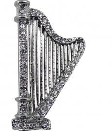 Broche met zilveren harp