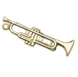 Sleutelhanger met trompet in gepoetste messing