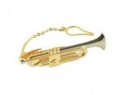 Vergulde dasspeld met grote trompet