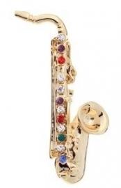 Broche met gouden saxofoon
