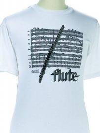 T-shirt met dwarsfluit en bladmuziek