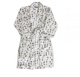 Flanellen badjas met muzieknoten
