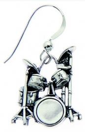 Zilveren oorbellen met drumstel