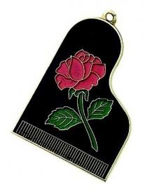 Sleutelhanger zwarte vleugel met roze roos