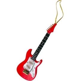 Kerstversiering elektrische gitaar (rood) 13 cm