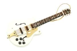 Kerstversiering Falcon elektrische gitaar (wit) 13 cm