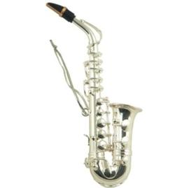 Kerstversiering saxofoon (zilverkleurig) 13 cm