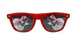 Rode zonnebril met elektrische gitaar