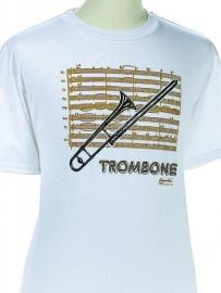 T-shirt met trombone en bladmuziek