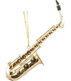 Kerstversiering saxofoon (verguld) 11.5cm