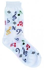 Witte sokken met gekleurde muzieksymbolen