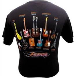 "T-shirt zwart met ""Famous Guitars"""