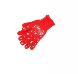 Rode handschoenen met muzieknoten