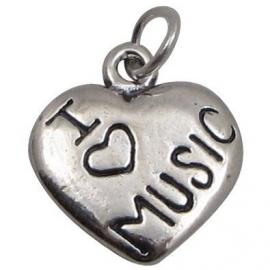 Hanger met zilveren hart 'I Love Music'