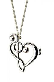 Halsketting hart met muzieksymbolen