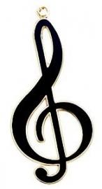 Sleutelhanger met zwarte vioolsleutel