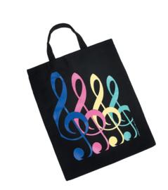 XL draagtas met gekleurde vioolsleutels