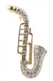 Broche met vergulde saxofoon