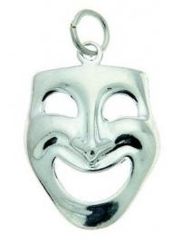 Hanger met zilveren lachend masker