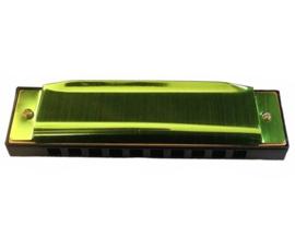 Groene mondharmonica (10 holes)