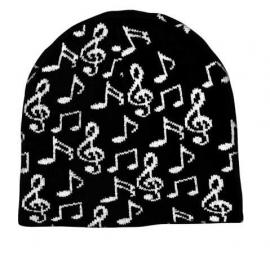 Beanie met muzieksymbolen