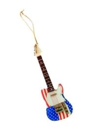 Kerstversiering elektrische gitaar USA vlag