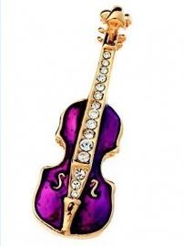 Broche met kleine paarse viool