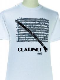 T-shirt met klarinet en bladmuziek