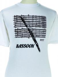 T-shirt met fagot en bladmuziek