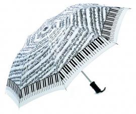 Opvouwbare paraplu met bladmuziek en pianotoetsen